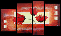 supermarket supplier flower oil painting on canvas group oil painting 4 pcs per set