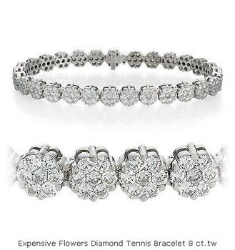 Expensive Flowers Diamond Tennis Bracelet 8 Ct Tw