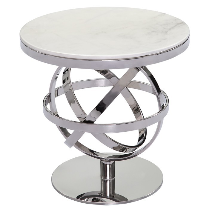 Polissage en acier inoxydable marbre table basse moderne for Meuble d appoint salon