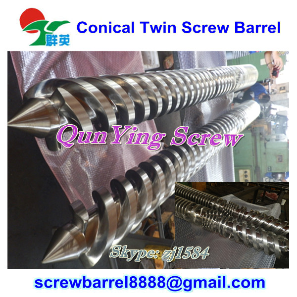 (PVC,UPVC pipes/profile) alloy extruder twin conical screw barrel for 65/132
