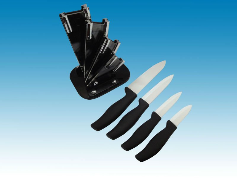 4 pieces ceramic kitchen knife set with Arylic block