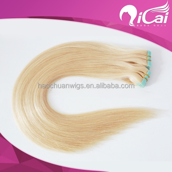 Double wefts unprocessed straight 613 blonde color human hair tape hair