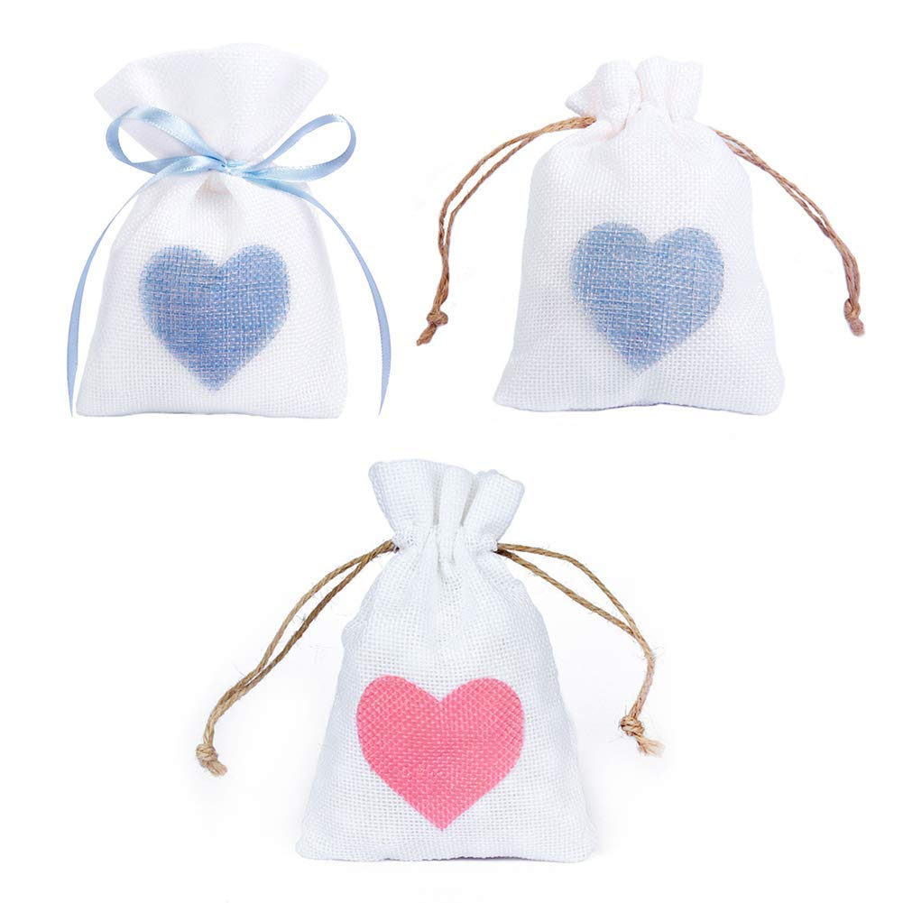 HATABO Bags Jute Bag Packaging 12 PCS 10x14cm Linen Jute Drawstring Gift Bags Sacks Party Favors Packaging Bag Wedding Candy Gift Bags Party Supplies (Random)