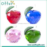 Promotion Home Decoration Gifts 3D Apple Shape Crystal Crafts