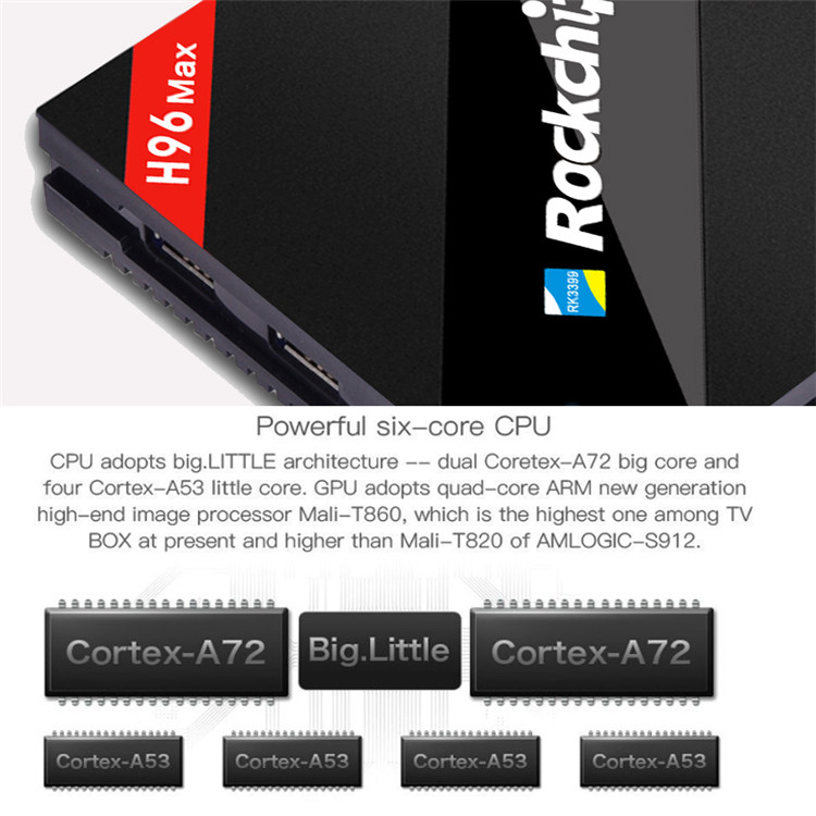 2019 Top Quality H96 MAX RK3399 4G 32G six core High Quality H96 Maxr k3399 Set Top Box android 6.0 tv box