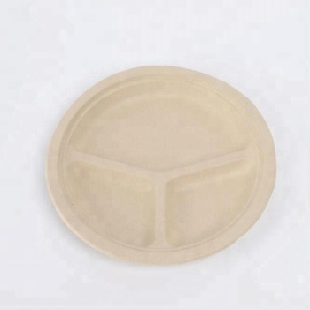 "9"" Compostable Wheat Straw Plate with Drink Holder EcoFriendly 
