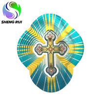 Multicolored Stained Cross wind spinner 3D metal wind spinner garden arts