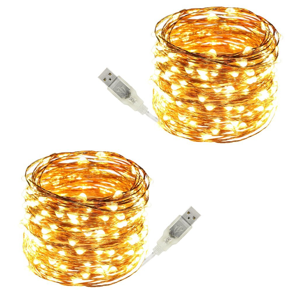 USB Led String Lights,ER CHEN(TM) 200 Leds 66Ft Waterproof Copper Wire String lights for Bedroom, Patio, Party, Wedding, Christmas Decorative Lights(Warm White,2-Pack)