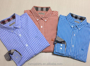 Button down collar gingham checks shirts men