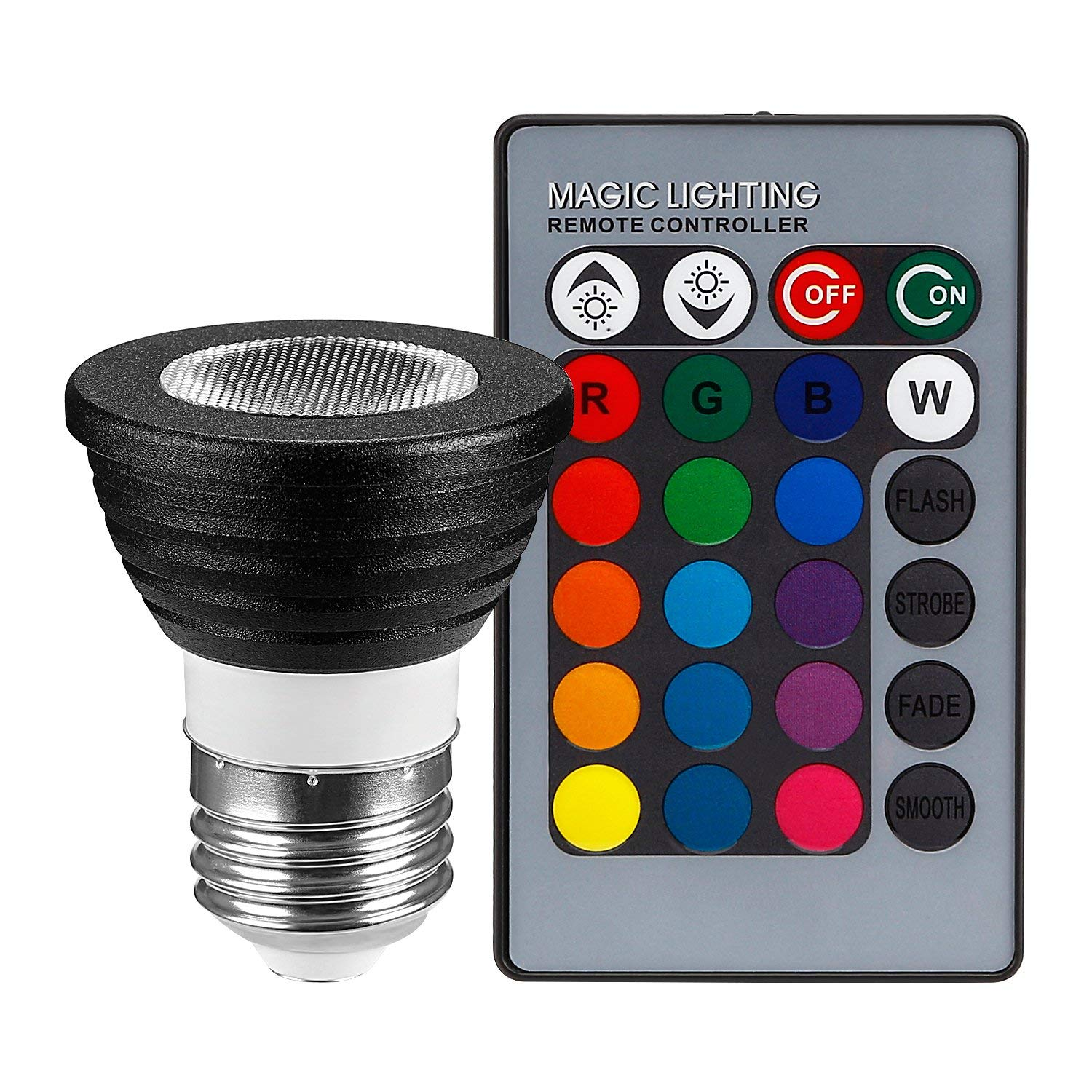 3-in-1 RGB Multi Color LED E26 Spotlight Kit 45 Degree Beam Angle with 24-Key IR Remote Control and Memory Function, AC 85V-265V 3W Color Changing LED Bulb, Bead Surface Lens - Black