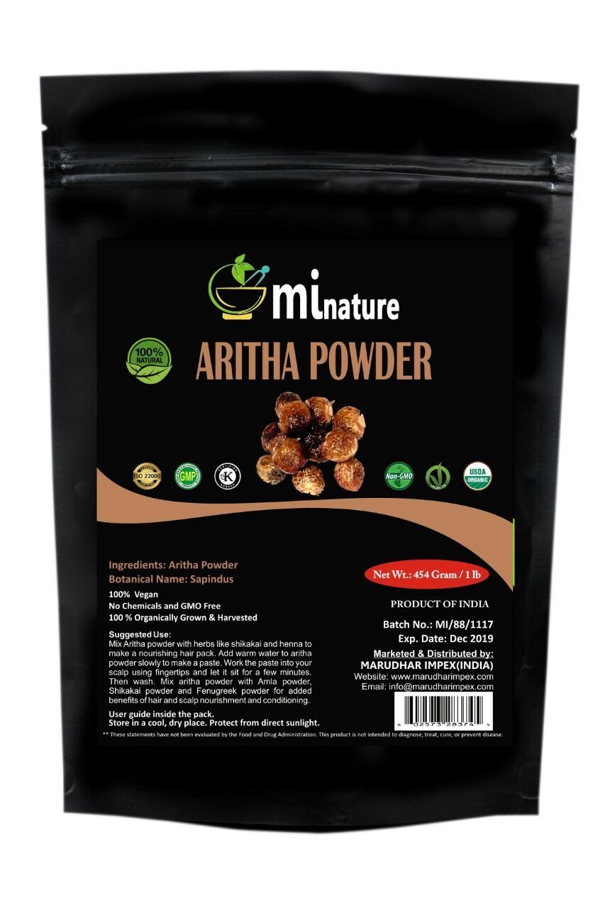 mi nature Organic USDA CERTIFIED Aritha Powder/Soap nut Powder(SAPINDUS MUKOROSSI) FOR SILKY HAIRS/100% Pure, Natural and Organic - (454g/(1 lb)/16 ounces) - Resealable Zip Lock Pouch