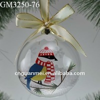 hand painted glass christmas ornament ball with ribbon/2013 new product