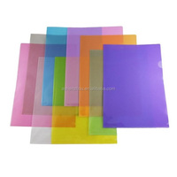 Popular fashion custom size office school stationery L shape clear plastic hard cover PVC PP file folder