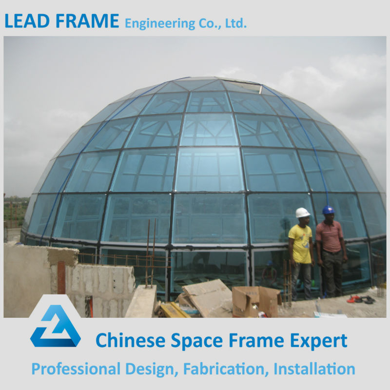 low cost prefabricated glass dome construction steel structure