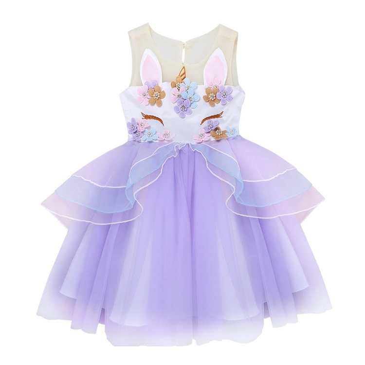 Fancy Kids Unicorn Tulle Dress for Girls Party Birthday Ball Gown