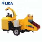 LIDA 100HP Mobile Wood Chipper with Diesel Engine working in the forest