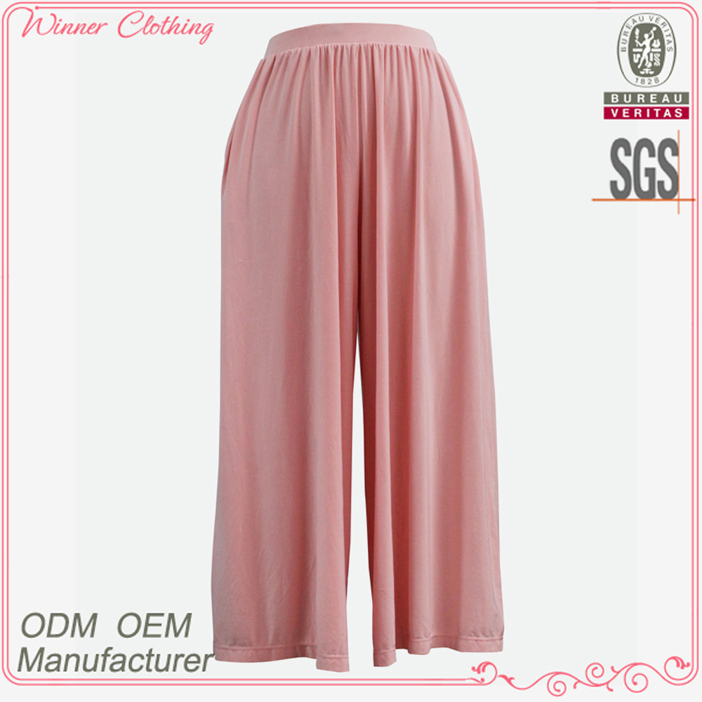 High end designer fashion customize daily wear trousers pink color stretch waist band loose fit women's trousers