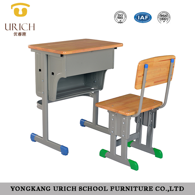 High Quality Oak Chair And Desk Attached Student Clams Wooden School Chairs For