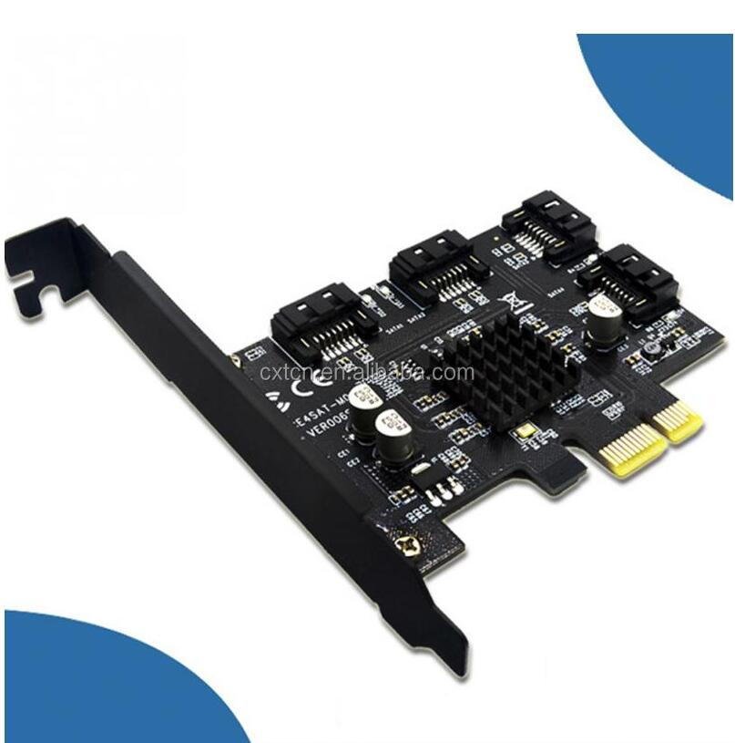 6-Port SATA 3.0 PCI Express Expansion Card Riser Card Compatible for SATA6G 3G S