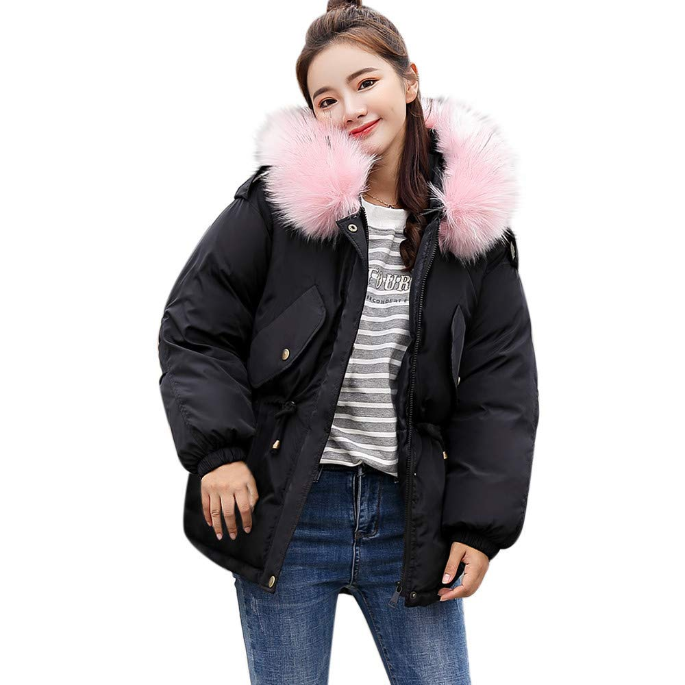 Dreamyth-Winter Women Solid Thicker Winter Slim Warm Collar Coat Paragraph Jacket Practical