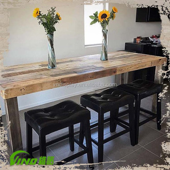 Antique High Top Tail Tables Wood Bar Restaurant Counter Vintage Handmade Coffee Table Rustic Office Meeting Whole