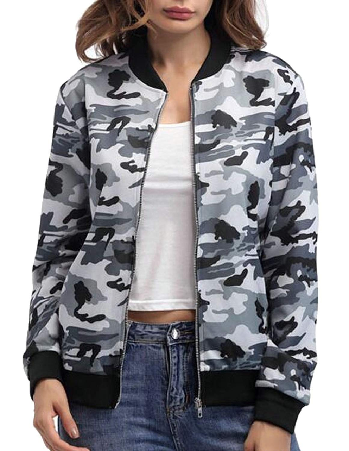 Cromoncent Womens Autumn Casual Camo Zipper Hooded Casual Jacket Coat