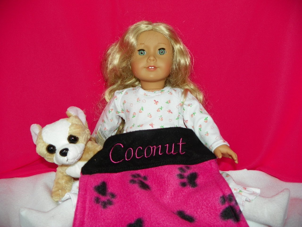 American Girl Doll Pet Dog COCONUT: Personalized Paw Print Design Blanket