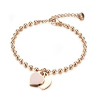 wholesale gold plated 3.5mm beaded beads bracelets with hearts charms