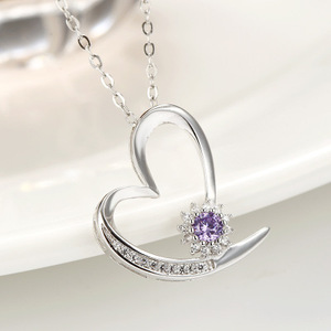 Infinity Heart Necklace Cubic Zirconia 925 Sterling Silver