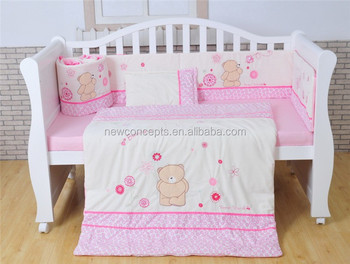 Pink Teddy Bear Soft Velour Baby Bedding Set Nursery Forever Friends