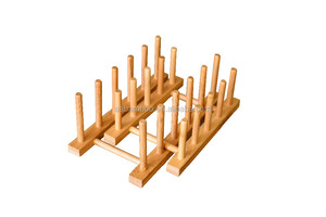 Bamboo Wooden Plate Rack Dish Drying Holder