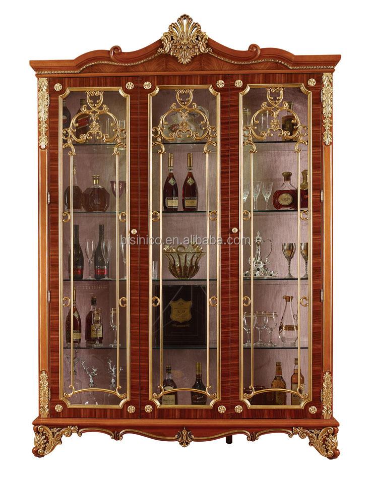 Met De Hand Snijden Van Houten Vitrinekastluxe Decoratieve 4 Deur Wijnkastantiek Goud Schilderen Opslag Kast Voor De Woonkamer Buy Gesneden