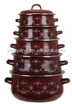 Africa Trible Pattern Wine Red Colorful Decal Enamel Cookware 5 Pcs Set With Lid Cooking Sauce Pots