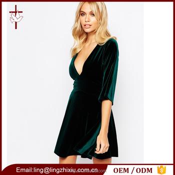 5cddf2d2eae7 Long Sleeve Elegant Plunge Front Green Velvet Sexy Skater Dress ...