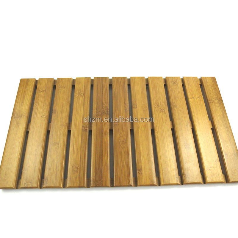 Luxury Bamboo Wooden Bath Mat With Non