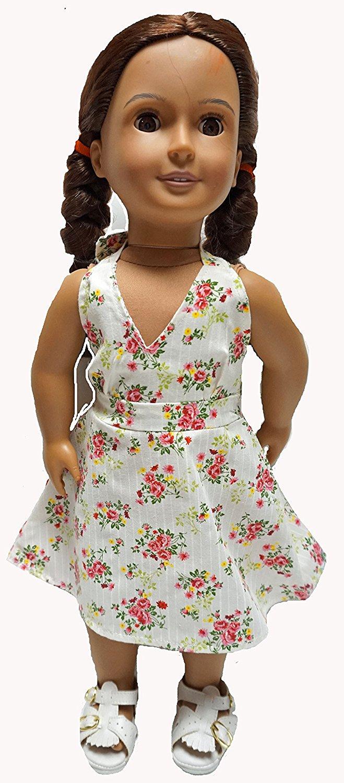 Rose Flower Print Sundress Fits  Inch Girl Dolls Like American Girl