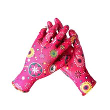 Women Flower Printed Polyester Liner Nitrile Palm Coated Garden Gloves
