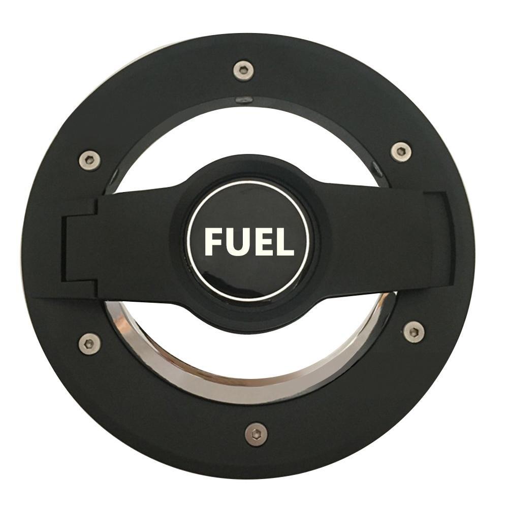 KOBWA New Replacement Gas Tank Cap Silver and Black Fuel Filler Door for 4-Door 2-Door for 2007-2016 Jeep Wrangler JK & Unlimited