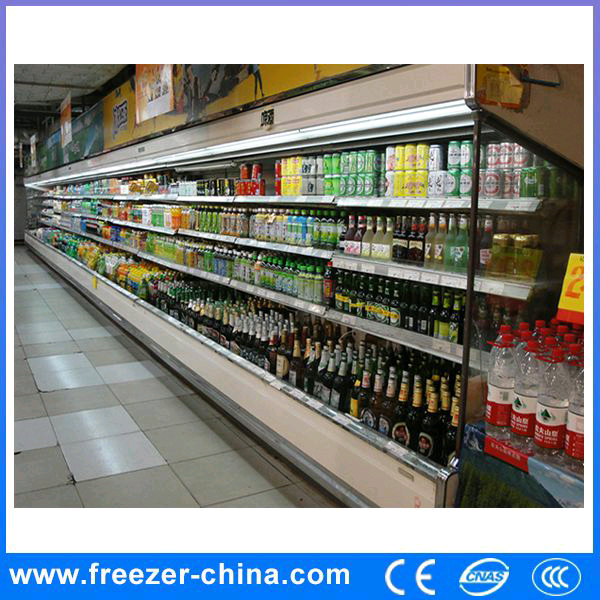 Supermarket multideck upright low power consumption refrigerator for dairy/beverage/wine/champagne