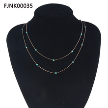FJ brand Plating alloy double-layer necklace chain female daily craft jewelry accessories