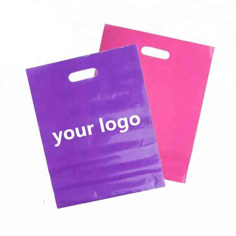 Eco Friendly Whole Glossy Ldpe Cut Custom Printed Plastic Retail Merchandise Bags With Handles