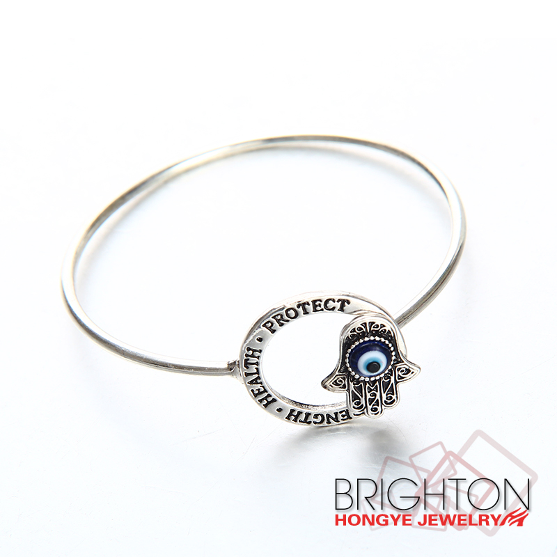 Antique Silver Evil Eye Bangles Jewelry BT6-8145-1950-14.9 Quality Choice