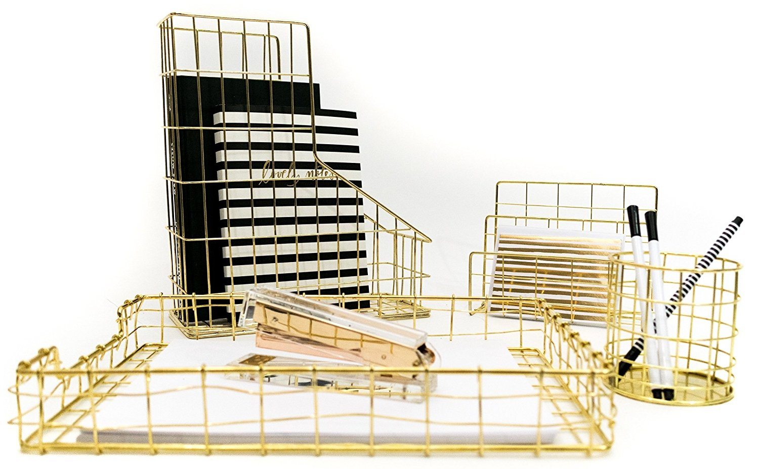 Blu Monaco Gold Desk Organizer - 4 Piece Desk Accessories Set - Letter - Mail Organizer, Paper - Document Tray, Pen Cup, Magazine File Holder - Gold Office Supplies Wire Stationery Decor