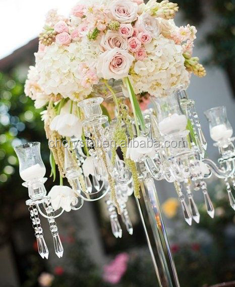 MH-1714 tall flower bowl top crystal wedding centerpiece