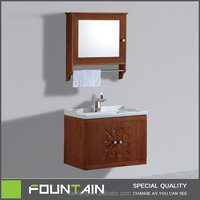 Hangzhou Factory Flower Oak Vanity Medicine Mirror Cabinet Bathroom Solid Wood Wall Cabinet