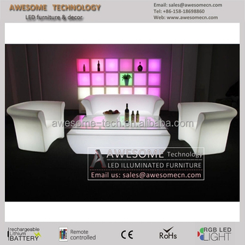 Lounge Wedding Furniture Led Glow White Sofa And Couches (SF201)