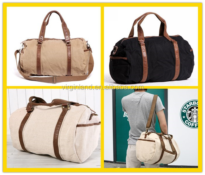 6520 Fashion High End Travel Bag Canvas Weekender Bag For Men ...