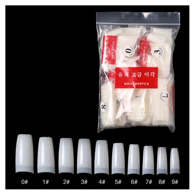 Manicure nails tip finished 500 pieces with Natural full cover or half-cover or French style cover for Korean craftsmanship