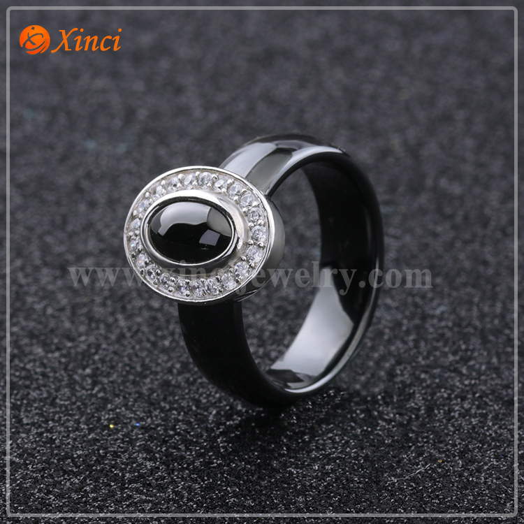 925 Sterling Silver Ceramic Jewelry Manufacturer Ceramics Ring Bands Black New Design Ceramic Rings