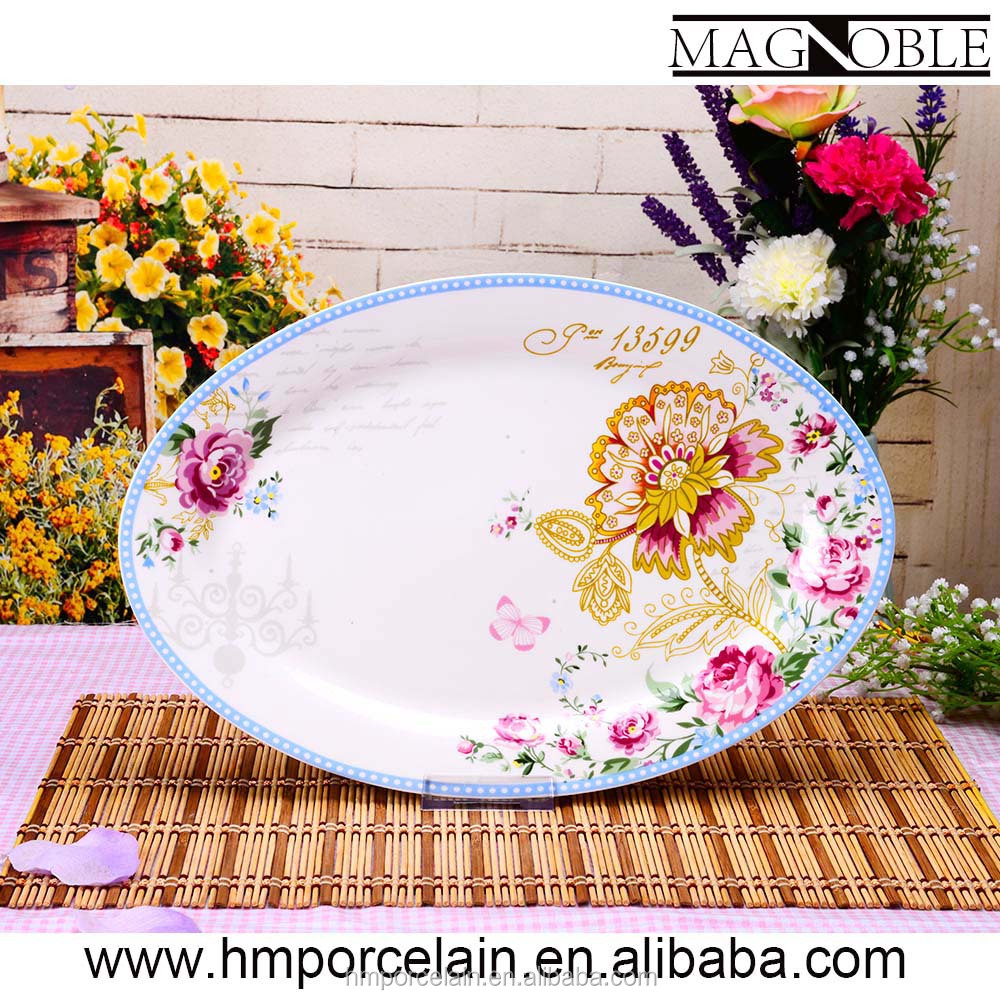 AB Grade Top Quality Large Oval Platter/Plate White Porcelain Custom Printed Ceramic Dinner Plates Wholesale Dishes From China